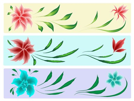 Flowers and leaves elements for design in different variations.