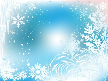 Winter background made of snow, snowflakes and icicles
