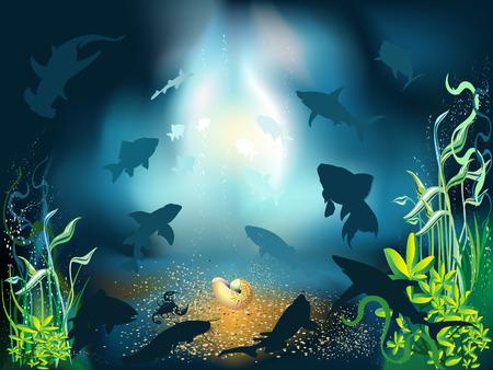 De onder water wereld van vissen en planten  Vector Illustratie