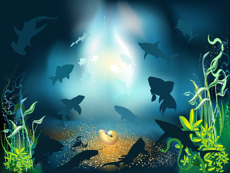 The underwater world of fish and plants Stock Vector - 5083035
