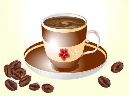 Isolated cup of coffee with coffee beans   일러스트