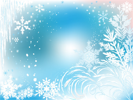 Winter background made of snow, snowflakes and icicles       일러스트