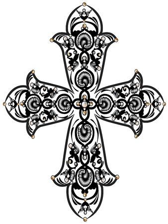 Cross with the ornament of leaves and beads 스톡 콘텐츠