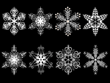 Isolated snowflakes in different variations