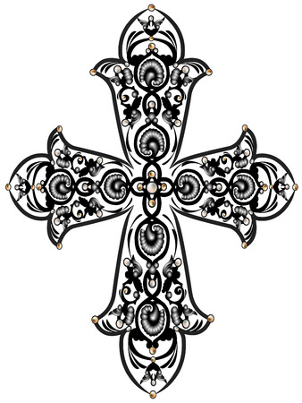 Cross with the ornament of leaves and beads 일러스트