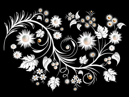 black berry: Flowers and leaves elements for design.