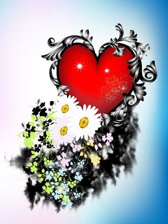 Heart with flowers, leaves and scrolls.