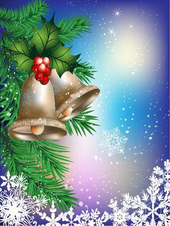 Tarjeta de Navidad con campanas, ramas de abeto y el muérdago. Foto de archivo - 5127320
