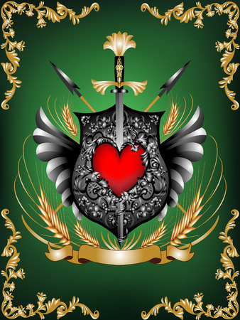 Heraldic shield with a sword, spears, and heart, in ornamental border.