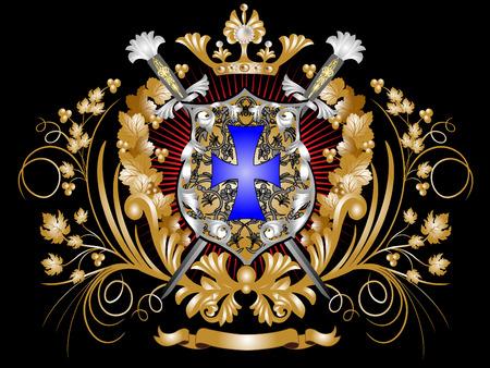 blasone: Heraldic Shield con le spade, una corona e ornamento.