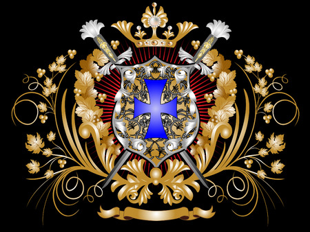 Heraldic shield with swords, a crown and ornament. Vector
