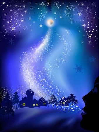 Paisaje de Navidad con nieve, las estrellas y cara de mujer.  Ilustración de vector