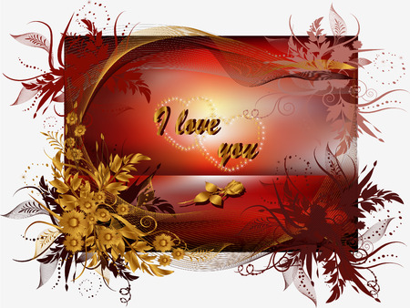 Greeting Card Valentine's Day with flowers, rose and hearts. 일러스트