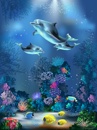 The underwater world with dolphins and plants Çizim
