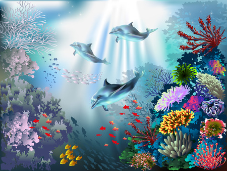 The underwater world with dolphins and plants 일러스트
