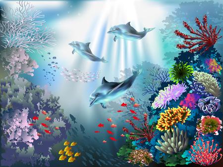 oceano: El mundo bajo el agua con los delfines y las plantas