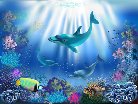 The underwater world with dolphins and plants Vectores