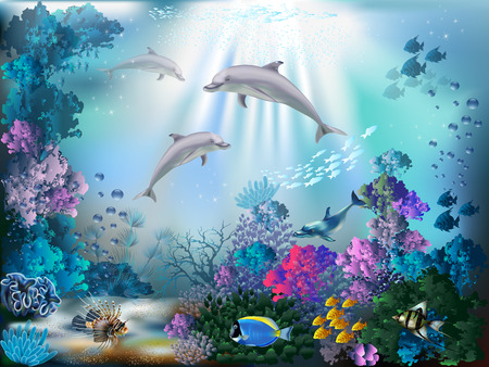 ocean background: The underwater world with dolphins and plants Illustration