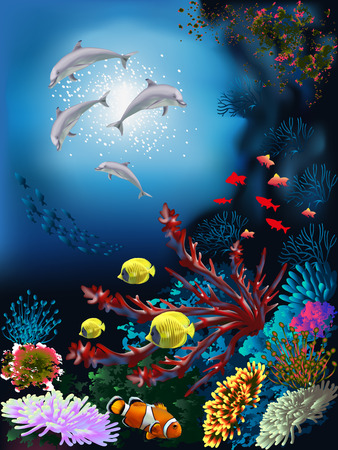 sea world: The underwater world with dolphins and plants Illustration