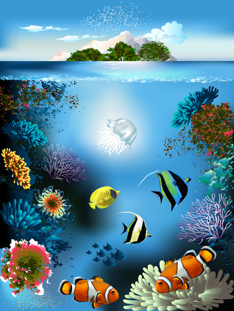 sea green: The underwater world with fish and plants