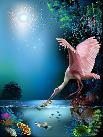 Landscape with pink bird