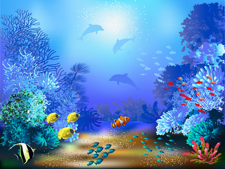 The underwater world with fish and plants