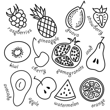 Fruits and vegetables seamless background. Vector fruits and vegetables pattern. 일러스트