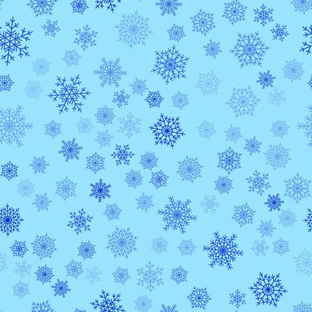 Snowflakes seamless pattern. Flat snow icons, silhouette. Nice fabric, textile, wrapping paper, card, invitation, wallpaper, web design