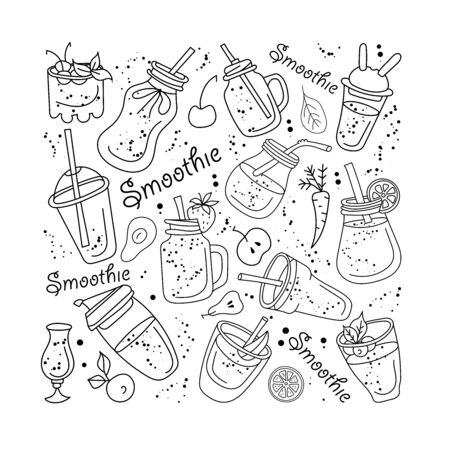 Smoothie and fruits,Vector set 일러스트