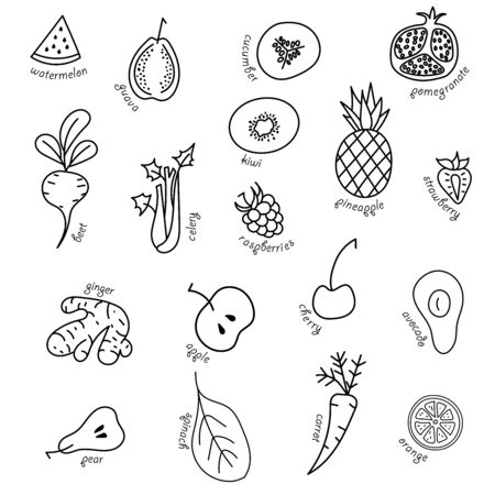 Fruits and vegetables. Vector fruits and vegetables pattern.