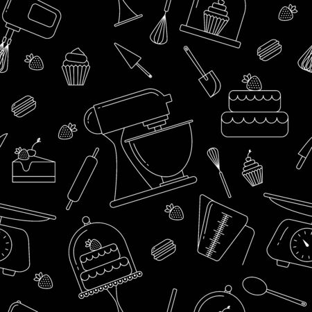 Vector seamless pattern of elements for bakery in trendy linear style