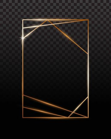Copper frames. Copper geometrical polyhedron, art deco style for wedding invitation, luxury templates.