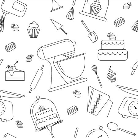 Vector seamless pattern of elements for bakery in trendy linear style.