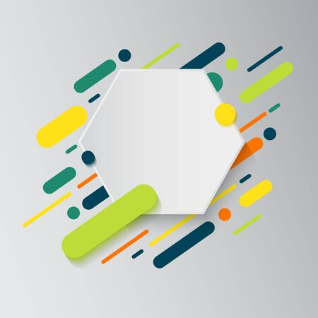 Background with paper card and abstract colorful shapes. Trendy neon lines and circles, modern design style Flat dynamic background.  イラスト・ベクター素材