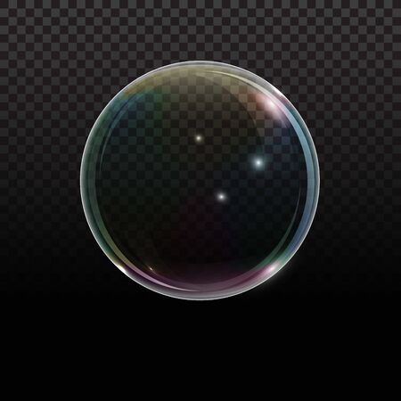 Soap bubble with rainbow reflection on transparent background. Transparent foam bubble, great design for any purposes.