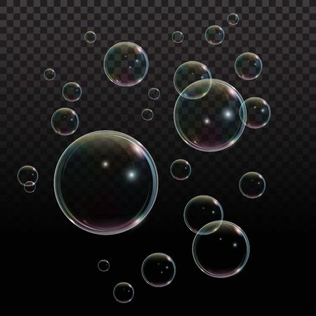 Soap bubble with rainbow reflection on transparent background. Transparent foam bubble, great design for any purposes
