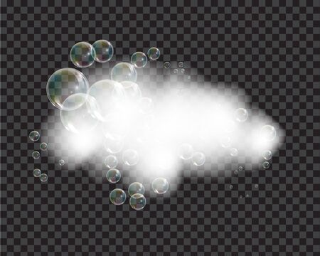 Bath foam soap with bubbles isolated vector illustration on transparent background. Shampoo and soap foam lather vector illustration. Ilustração