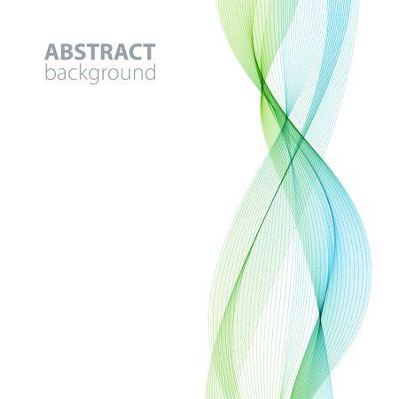 Blue-green abstract waves background, waved lines for brochure, website, flyer design. Transparent lines Vetores
