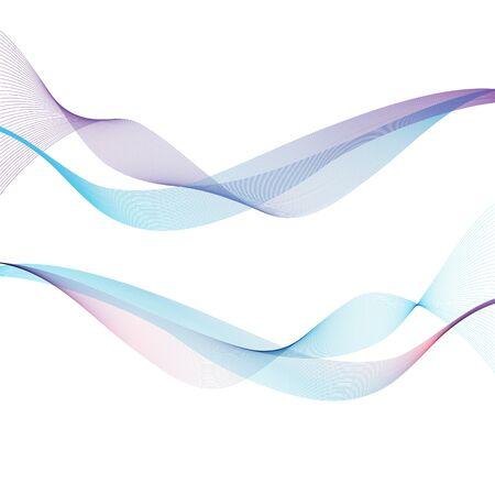 Ondas abstractas sobre el fondo blanco. Lineas transparentes Ilustración de vector