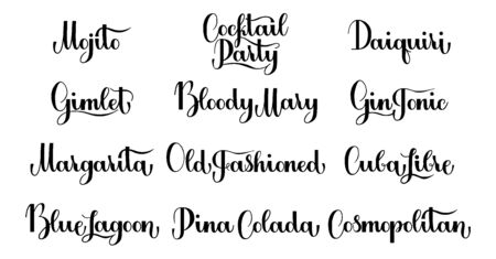 Lettering Cocktail set isolated on white background for print, design, bar, menu, offers, restaurant. Modern hand drawn lettering label for alcohol Cocktail set. Handwritten inscriptions for layout and template. Illustration
