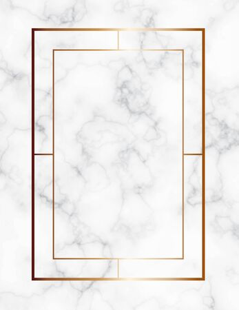 Marble background with gold geometric frame. Luxury template for wedding invitation cards with white marble texture and golden geometric pattern.