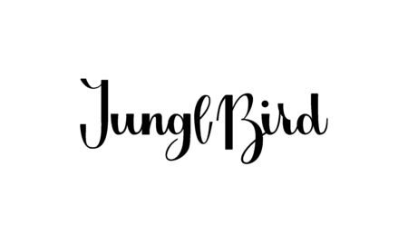 Lettering Jungle Bird isolated on white background for print, design, bar, menu, offers, restaurant. Modern hand drawn lettering label for alcohol cocktail Jungle Bird. Handwritten inscriptions cocktail for layout and template.