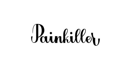 Lettering Painkiller isolated on white background for print, design, bar, menu, offers, restaurant. Modern hand drawn lettering label for alcohol cocktail Painkiller. Handwritten inscriptions cocktail for layout and template.