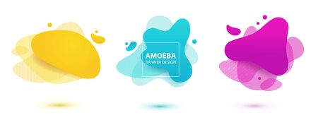 Amoeba liquid design. Dynamical colored forms of amoeba. Modern banner template for logo, flyer, presentation design. Yellow, red, blue colors.