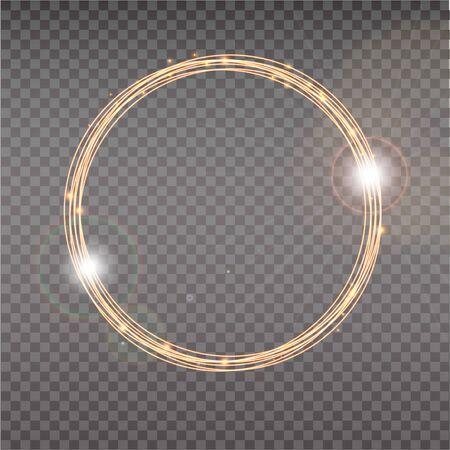 Halo brillante. Círculos brillantes abstractos. Halo de efecto óptico de luz sobre fondo transparente.