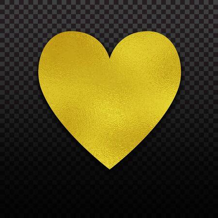 Gold foil heart for luxury Valentine, wedding or birthday greeting card. Golden foil design.