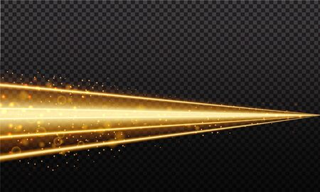 Golden magic line. Gold trail isolated on transparent background. Luminescent line with bright bokeh and sparkles.