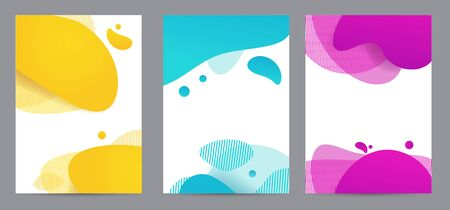 Amoeba funky design for print products. Dynamic style banner set with amoeba funky gradient elements. Creative for poster, web, landing, page, cover, ad, greeting, card, social media, promotion