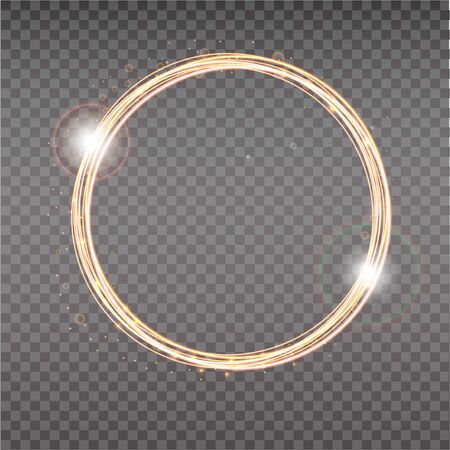 Bright halo. Abstract glowing circles. Light optical effect halo on transparent background.