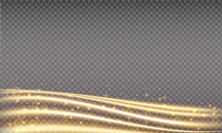 Golden swoosh, magic wave. Gold trail isolated on transparent background. Luminescent waved trail with bright bokeh and sparkles. Swoosh with stradust. Illustration